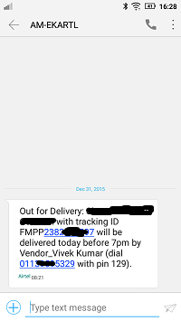 flipkart delivery number