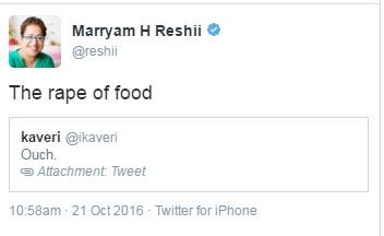 marryam reshii food rape comment