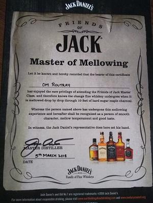 jack daniels masterclass certificate